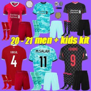 hommes kit 20-21 liverpool enfants Accueil Red Soccer Jersey avec chaussette 16-28 MANE M.Salah Virgil FIRMINO A.BECKER Chemises HENDERSON de football loin