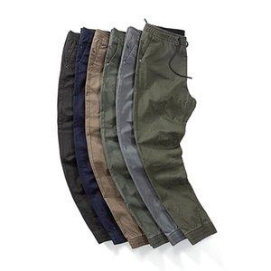 Fashion-Unisex Elasticated Waist Plain Jogger Pants Autumn Winter Men's Casual Pants Drawstring Elastic Waist Lacing Washed Sports Pants