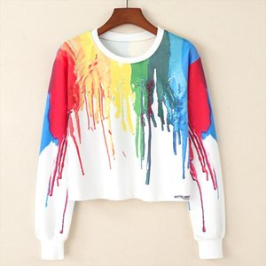 Harajuku set of colorful paint printing ink head womens fashion long sleeved hoodies Drop Shipping