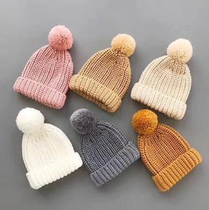 Girls knit wool hat winter new kids Crochet Knitted Candy Color pompom hat children big pompom beanie winter kids knitted warm caps A5617
