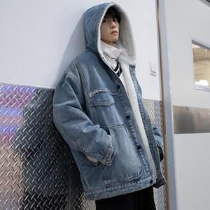 Мужская зима Denim с капюшоном овечьей шерсти Подкладка пальто Повседневный Синий Черный Parka толстый теплый Outwear Размер S-4XL
