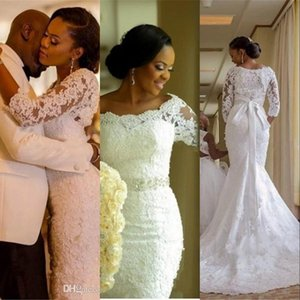 Cheap Luxury Mermaid Wedding Dresses Off Shoulder Full Lace Applique Beaded Sash 3 4 Long Sleeves Sweep Train African Nigerian Bridal Gowns