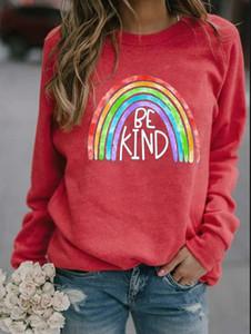 2020 New Amazon Women's Tops Loose and Thin Rainbow BEKIND Printed Round Neck Long Sleeve Sweatshirt