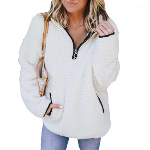 Donne calde di lana pullover manica lunga con cerniera con cerniera con chiusura con collare Felpa femminile Autumn Autunno / Inverno Pocket SweatsIrt S-XL1