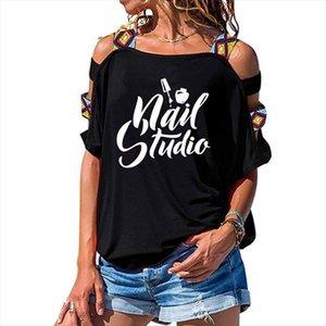 Beauty Salon Nail Art Manicure Pedicure T Shirt Women Loose Cotton Short Sleeve Female T shirts Fashion Hollow Out Shoulder Tees