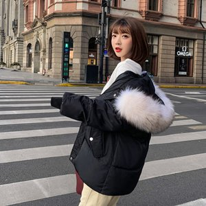 Korean Style 2020 Winter Jacket Women Stand Collar Solid Black White Coat Loose Oversized Womens Short Parka