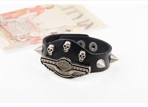 man leather punk pland bracelet fashion