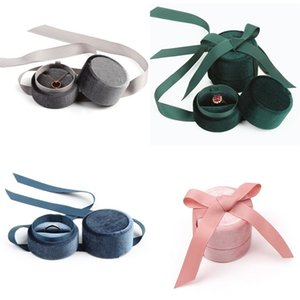 Corduroy Cylinder Jewel Case Rings Necklace Pendants Storage Boxes Silk Ribbon Exhibition Gift Packing Casket Exquisite High Quality 7kk N2