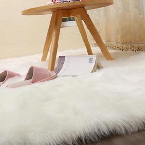 İskandinav Dikdörtgen ve kare Yumuşak kabarık Sahte Sheepskin Kilimler merkezi salon Yatak Odası Kat Beyaz Taklit kürk Başucu Rug kırmızı