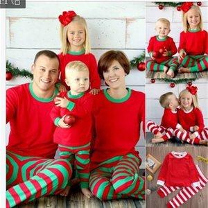Family accessory clothing set Christmas pajamas set mom and daughter long sleeves red white green striped pajamas LJ201111