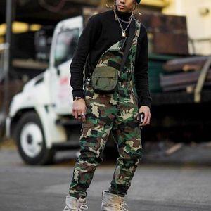 Men One Shoulder Fashion Jeans Jumpsuit Casual Camouflage Print Jeans Jumpsuits Overalls Tracksuit Camo Suspender Pant