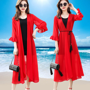 TingYiLi Chiffon Cardigan Women Summer Beach Boho Kimono Cardigan Black White Red Green Pink Long Chiffon Blouse Shirt Y200827