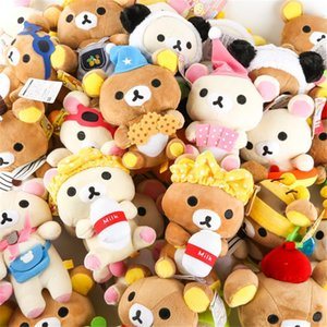 A001 Rilakkuma Bear Plush Toys Pendants 18CM Stuffed Relax Bear Dolls Kawaii Lovers Animals Plush Toy Gift Car Pendant