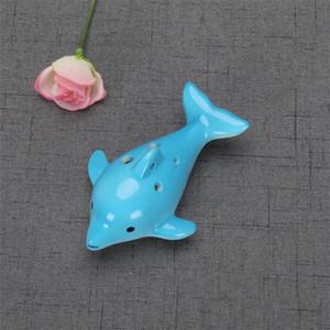 Mignon Hole Céramique Dolphin Ocarina Toy Factory Instrument de musique Forme Animal Musique Éducatif Flûte Charme 6 5YX Z