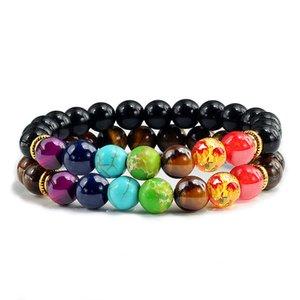 2Pcs set 7 Chakra Bracelet For Women Men Balance Buddha Reiki Prayer Tiger Eyes Black Natural Stone Beads Yoga Strand Bracelets