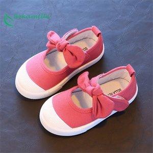 Bekamille Primavera Outono Crianças Canvas Sapatos Casuais Crianças Linda Bow Liso Saltos Sapatos Meninas Princesa Sólida Cor Sapatilhas 201224