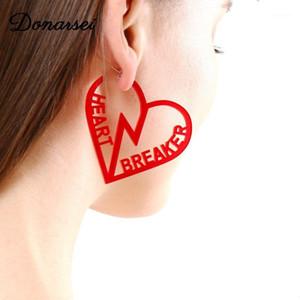 Donarsei Fashion Red Heart Breaker Acrílico Pendientes de Coco Árbol de Coco Llama Pendientes De Derechos Letra Dou Dangle1
