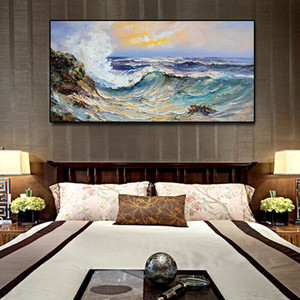 Seascape Sea wave Framed & Unframed Large Home Decor Handpainted &HD Print Oil painting On Canvas Wall Art Canvas Pictures-E2017016