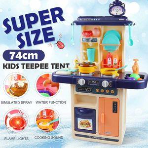 28pcs I bambini Finta Play Simulazione Kitchen Set Cuoco Gioco miniatura Alimentazione Mini Stoviglie Spray giocattolo della luce bambini regalo 201021