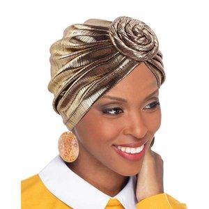 민족 의류 2021 여성을위한 반짝이의 도넛 형 터번 모자 hijab 모자 무슬림 headscarf 보닛 모자 숙녀 헤드 밴드 터빈 헤드 랩 '