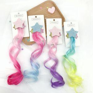 12 adet / grup Glitter Yıldız Degrade Peruk Saç Kelepçe Örgü Kıvırcık Saç Yay Bebek Kız Barrettes Butik Saç Klip Prenses Saç Aksesuarları Sıcak