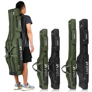 Camadas Lixada Três Pesca Bag Folding portátil Pesca Rod Reel Combater Ferramenta Carry Case Transportador Travel Bag 130 centímetros / 150 centímetros C1008