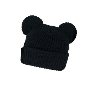 Three Dimensional Mickey Ear Knitted Cute Modeling Wool Hat Pullover Warm Youth Winter WEXS