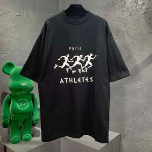 Herren Designer Frühling Sommer Jogging Druckbuchstaben T Shirt Mode Hoodies Männer Frauen Casual Baumwolle Baseball T-shirts Schwarz
