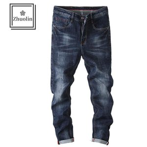 ZHUOLIN 2020 autumn and winter new trendy brand trend fleece jeans men's Korean style slim casual stretch pants men's