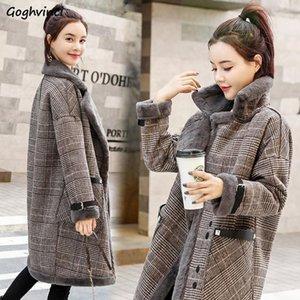 Kadınların Yün Karışımları Kadınlar Için Ekose Kalın Artı Boyutu Fashionas Uzun Bayan Kışlık Mont Harajuku Giysi Sıcak Zarif Kore Tarzı Rahat