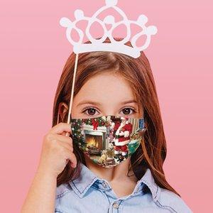 Les masques de Noël pour les enfants d'expédition gratuits nouveaux masques en coton imprimé design de mode Noël coupe-vent réglable anti-smog antipoussière washab