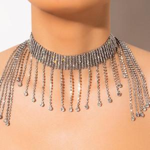 Pietra Fans catena lunga esagerata della nappa Collana Donne strass Wedding Banquet Femme lucido luminoso lusso collana girocollo di qualità