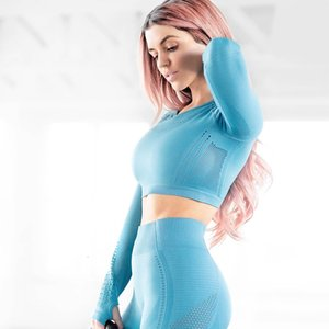 New T-Shirt For Fitness Women Yoga Top Long Sleeved Hollow Out Sexy Beauty Quick-drying Sports Wear Gym For Sportswear Women
