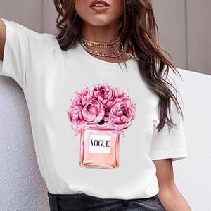 Zogankin Femmes Vêtements Imprimer Fleur Parfum Bouteille Sweet Vogue Tshirt Chemise filles Femme T-shirt Tops Été Nouveau Tee Casual N ° KT8S