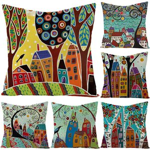 Pillow Nordic Linen Household Case Goods Oil Painting Watercolor Printing Pillow Case