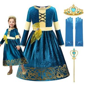 Muababy Kızlar Merida Prenses Giydirme Kostüm Cesur Deluxe Cadılar Bayramı Fantezi FOTOLARI Koyu Yeşil Çocuk Parti Giysileri 2-10T 201217