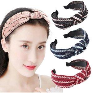 Women Solid Headband Bezel Head Hoop Headwear Fashion Knotted Hair Accessories for Women Striped Hair Bands