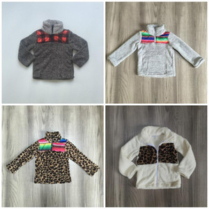 Girlymax Fall / Winter Outfits Baby Girls Warme Mantel Serape Leopard Plaid Fleece Mama ME Baumwollkleidung Kinder Boutique Top 201031