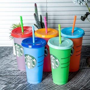 Echtes Foto 24 Unzen Farbwechsel Tumbler Kunststoff Trinksaft Cup mit Lippe und Strohmiefter Kaffeetasse Costom Starbucks Plastic Cup