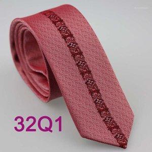 Neck Ties YIBEI Coachella Casual Dress Florals Novelty Slim Skinny Narrow Corbatas Seda Jacquard Woven Microfiber Coral Pink Necktie1