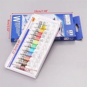 12 Colors Tubes 6ml Paint Tube Drawing Painting Watercolor Pigment Set With Brush Art Supplies W91A 201225