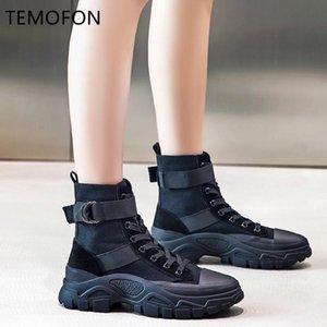 Temofon 2020 Fashion Women Boots Black Motocicleta Botas de tobillo Otoño Altura de invierno Aumento de los zapatos de lona Señoras HVT1396