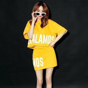 Woman Matching Sets 2020 Summer Korean Style Casual Letter Print T Shirt Pencil Skirt Two Piece Set Yellow conjunto feminino S56