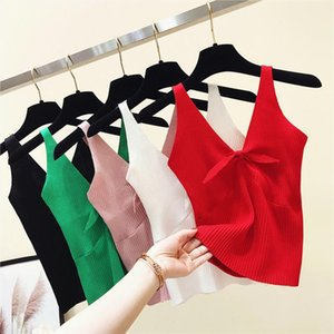 Summer Slim Knitting Bow V neck Cropped Tank Tops Female Knitted Simple Camisole Sleeveless Solid T shirts Crop Tops For Woman