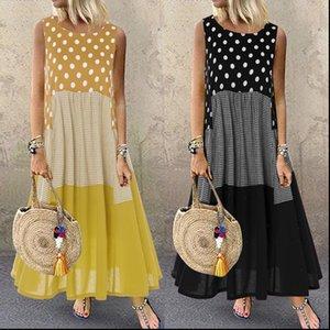 Bohemian 인쇄 맥시 드레스 Womens Ruffle Sundress 2021 Zanzea 캐주얼 민소매 폴카 도트 탱크 Vestidos 여성 패치 워크 로브