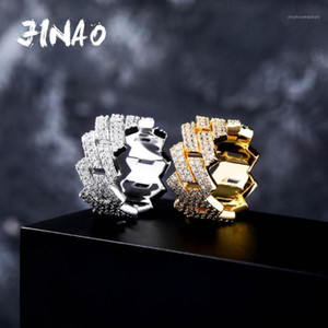 Jinao Men Trendy Zirconia Anelli Colore Top Quality Bling Bling Out CZ Hip Hop Punk Anello Collegamento cubano Chain1
