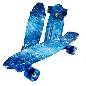 Jusenda 22inch Skateboard Longboard Mini Cruiser Penny Board komplett Retro Printed Skateboarddecks Vier-Räder Kind-Roller