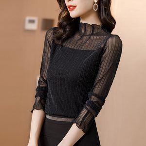 2020 Turtleneck Feminina Camisa Blouse Women Top Ladies Lace Blouses Shirt Ropa Mujer Vetement Femme Chemise Woman Clothes