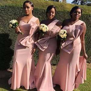 One Shoulder Long Bridesmaid Dresses Blush Pink Party Gowns Maid Of Honor Dresses With Big Bow Back Zipper Custom Made Prom Dresses