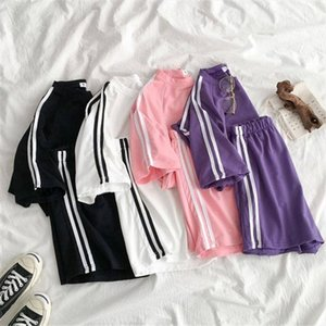 2020 Summer Women Sport Set Casual Streetwear Striped O Neck T Shirt high Waist Elastic Short Pants Female 2 Piece Sets